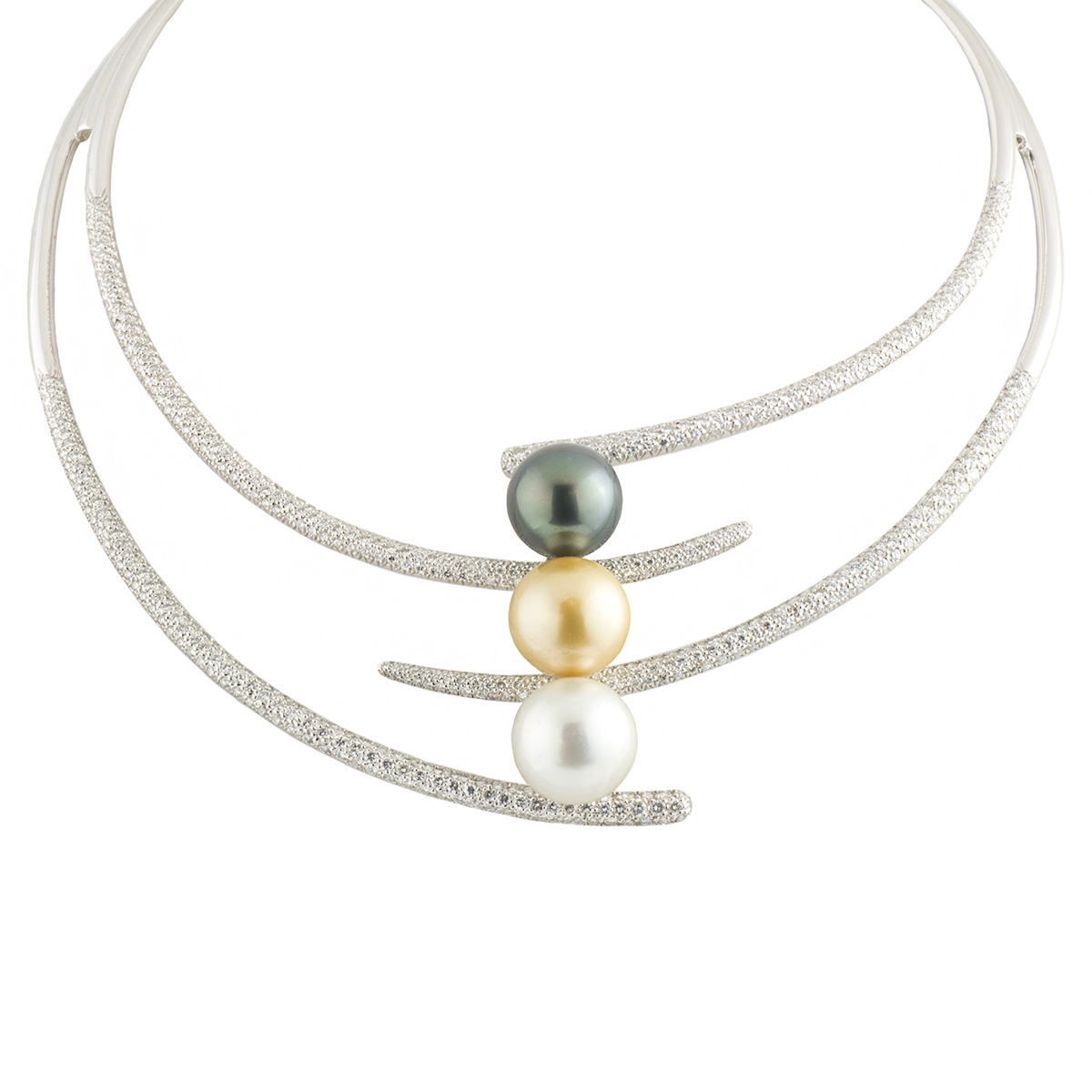 White Gold Diamond and Pearl Choker